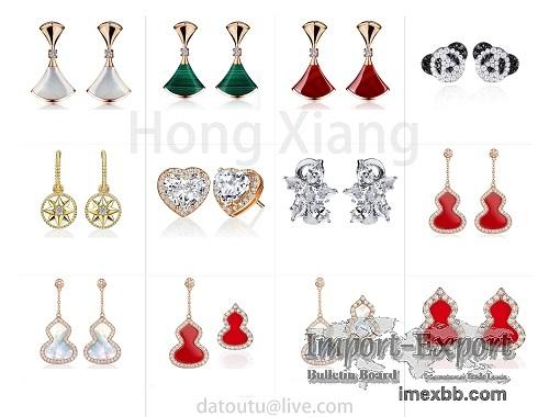 Fan Shaped Earrings Love Heart Earrings Panda Earrings