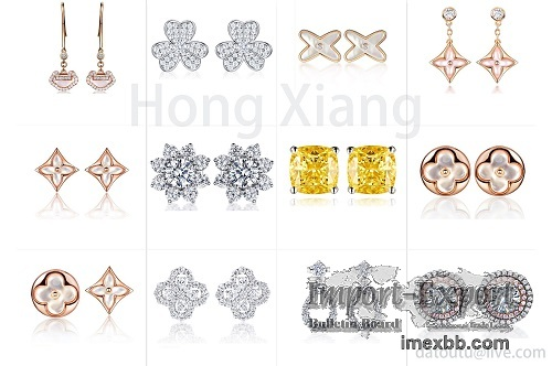 Noble exquisite earrings with rose gold and silver earrings