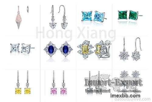 Elegant and beautiful earrings inlaid with zircon