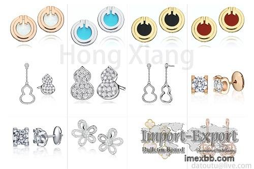 Personalized fashion gourd shape earrings zircon earrings