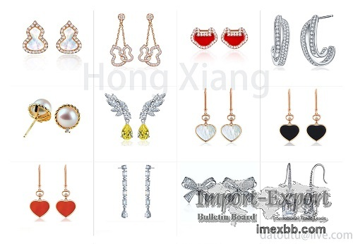 Cute bow earrings various colors love heart shape earrings