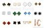 Various colors four-leaf clover earrings butterfly earrings