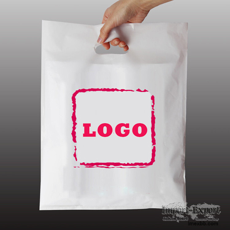 OEM LDPE HDPE Poly Plastic Bag For Clothes Handle Shopping Bags