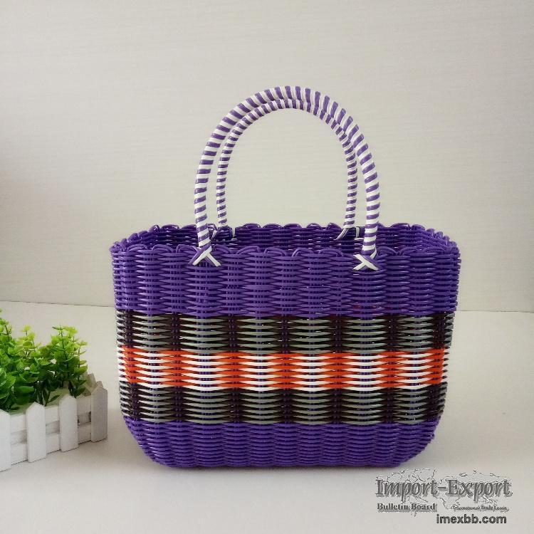 Large pvc woven vegetable basket, shopping basket, shopping basket, storage