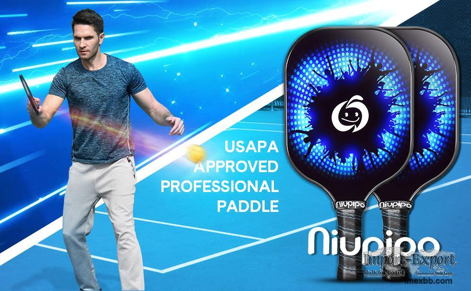 niupipo Pickleball Paddles, Carbon Fiber Face, Set of 2 with Covers - Blue