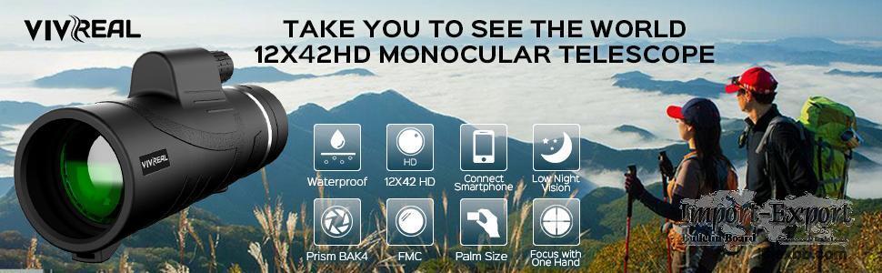 VIVREAL 12X42 High Power Monocular for Bird Watching