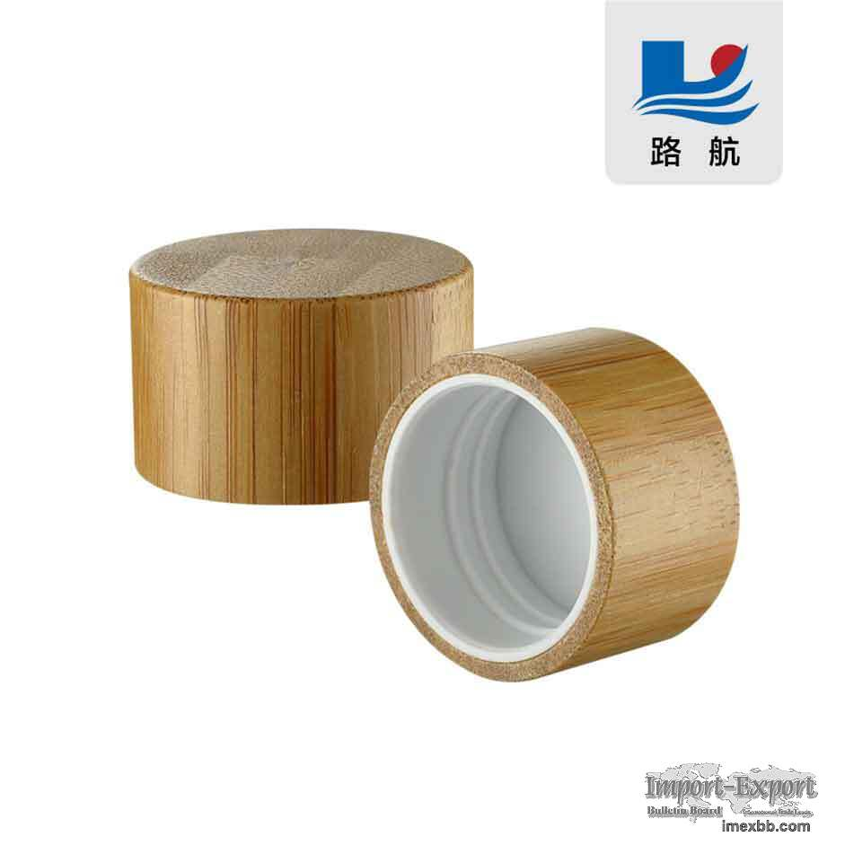 28/410Screw cap. Cover with bamboo lid. Bamboo wood cover. plastic cap