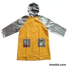 PVC Waterproof Kids Raincoat Yellow And Silver 0.18mm Thickness