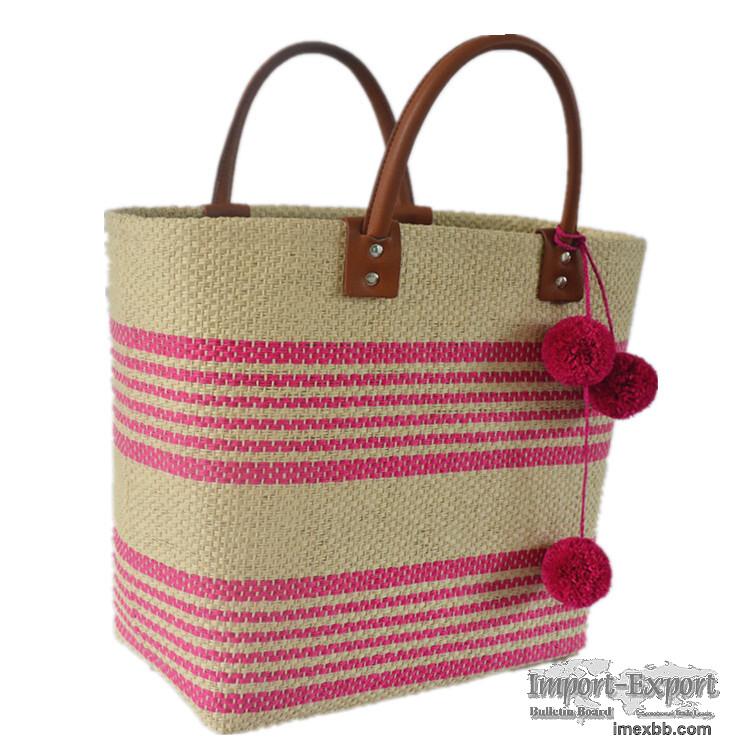 Hand-woven bohemian striped pompom straw bag handbag holiday beach bag