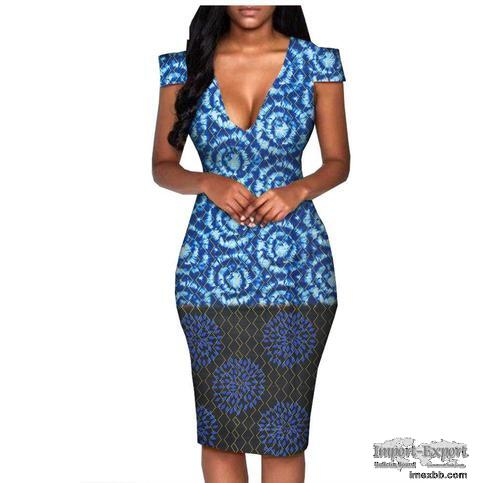 New style African ethnic wax printing cotton plus size fashion dress