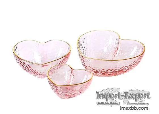 Hand Made Heart Shaped Glass Bowls, Lead Free Salad Bowl Set with Gold Rim