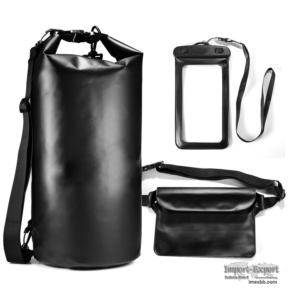 3-Piece Waterproof Kit Keeps Gear Dry with Adjustable Strap
