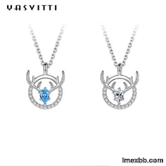14x16mm 15in Deer Antler Necklace Sterling Silver 3A CZ Antler Pendant Neck