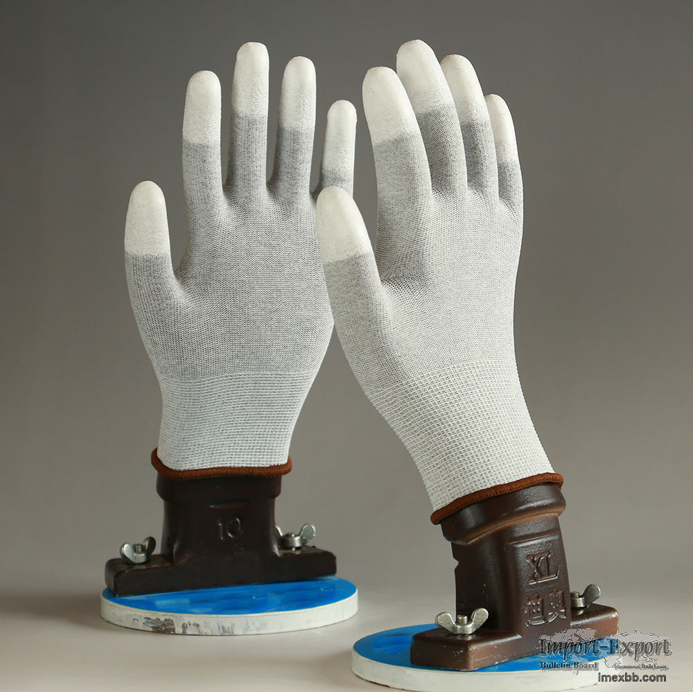 ESD 13 Guage Finger PU Coated Top Fit Gloves for Cleaning Room