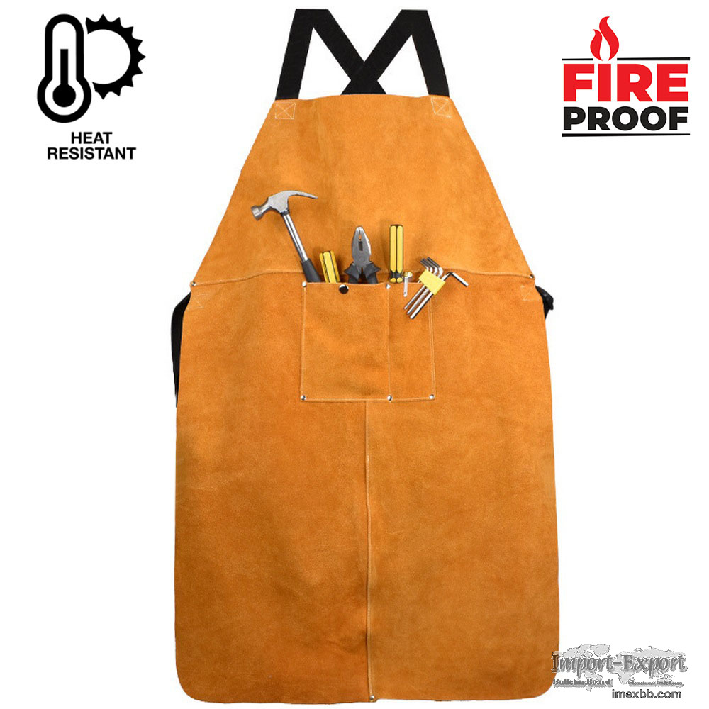 Flame Resistant Heat Insulated Cowhide Welding Apron