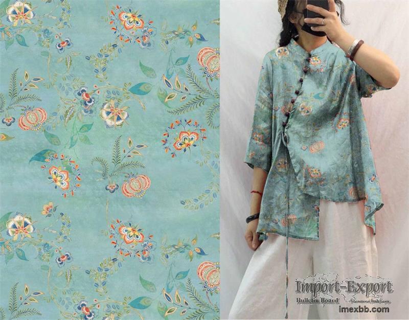 Digital Printing Tencel Ramie Spring Summer Women′s Clothing Dress Fabric